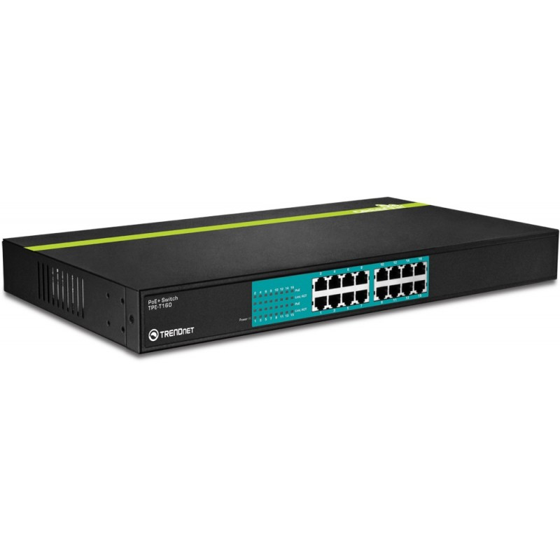 Trendnet TPE-T160 16-Port 30 Watt 10/100Mbps PoE+ Switch