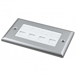 Doublegang Metal Faceplate with 4 Cat6 UTP Module Modules